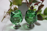 Wholesale 10pcs green glass rose knobs crystal furniture handle knob cabinet drawer pulls bulk