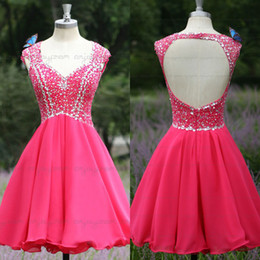 Wholesale 2015 sfani Beauty Design Real Image Homecoming Dresses Fuchsia Chiffon V neck Full Beaded Blink Crystals Short Cocktail Party Dress