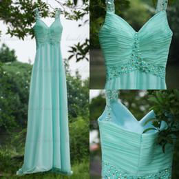Wholesale Simple Hunter Prom Party Dresses Sheer Spaghetti Strap A Line Floor Length Rhinestone Beaded Sequins Elegant Formal Bridesmaid Dresses