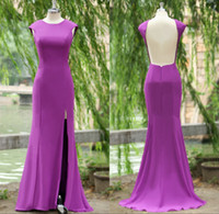 naked 2 - 2015 Actual Image Evening Dresses with Jewel Neck Sexy Naked Back Cap Sleeves Split Side Floor Length Formal Prom Dress Party Gowns SU18