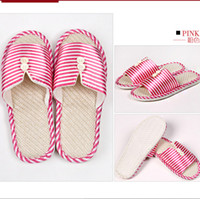 Cheap Wholesale-Fashion soft outsole family warm winter stripe slippers cotton shoes Cartoon panda Indoor warm cotton slippers C14