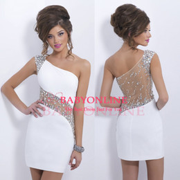 Wholesale 2014 Hot Sparkly Crystal Blush Homecoming Gown Cocktail Dresses One Shoulder Beaded Sheer Illusion Short Mini Sheath See Through Back BO6368