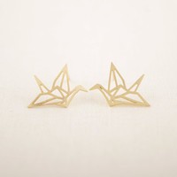 Wholesale Min pc Gold Silver and Rose gold Origami Crane Stud Earrings ED055