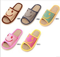 Cheap Wholesale-2014 New summer Slippers smile linen slippers shoes for men and women couple home indoor floor slippers bottom family slippers