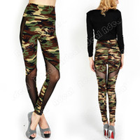 Wholesale New Ladies Fashion Sexy Women Camouflage Gauze Full Length Leggings Tights Stretchy Pants Skinny SV005968
