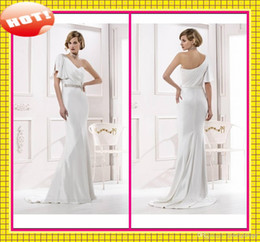 Wholesale 2014 Fashion Beaded Crystals Custom Novia Elegant Long Stain Wedding Dresses One Shoulder Sashes Backless Bridal Dress Formal Wedding Gowns