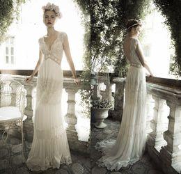 Wholesale Chiffon Beach Bohemian Wedding Dresses Custom Lihi Hod V Neck Sheath Lace Corset Plus Size Backless Wedding Gowns Cap Sleeve
