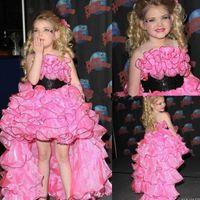 short front long back girls dress - Pink Toddler Pageant Gowns Short Front Long Back Custom Made Little Girl Prom Dresses Vestidos de Festa Vestido Longo