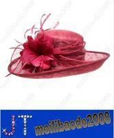 Wholesale Women s Ladies Wedding Hat Wide Brim Derby Gauze Hat Church Tea Party Sun Hat sinamay hat HSA0818