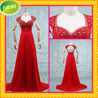 Wholesale 2014 High Quality Chinese Red Key Hole Back Wedding Dresses Sweetheart Capped Sleeves Beaded Corset Long Bridal Dress Formal Wedding Gowns