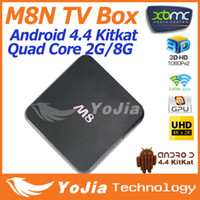 Quad Core Included 2096x2304 & 3840x2160 Ultra HD 1pc M8N Amlogic S802 Quad Core Android 4.4 kitkat OS Smart TV Box Dual Wifi 2G RAM 8G ROM Bluetooth 4.0 XBMC Media Player Free Shipping