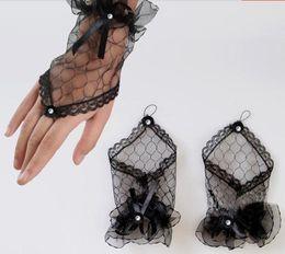 Wholesale 2014 New Bridal Gloves White Black Short Beaded Ribbon Bride Gloves Wedding Gloves Wedding Accessories Cheap Hot Sale