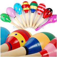 Wholesale Hot Wooden Maracas Wood Rattles Party Favor Child Baby Shaker Toy Kid Musical Instrument Preschool CM