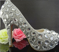 Cheap New Silver Rhinestone Crystal Shoes Prom Heels Wedding Shoes Women High Heels Shoes Woman Platforms Pumps