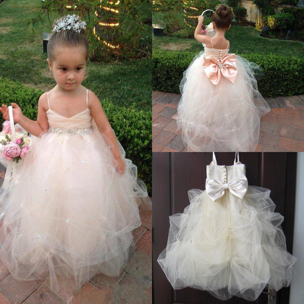 Real Image Champagne Kids Girl S Pageant Dresses Big Bow
