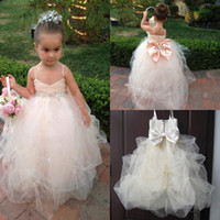Reference Images Girl Beads Real Image Champagne Kids Girl's Pageant Dresses Big Bow Beads Spaghetti Straps Fashion Wedding Little Princess Ball Gown Flower Girl Dress