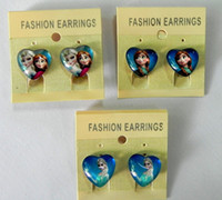 Wholesale 9 off in stock cm cartoon frozen elsa anna Heart shaped glass Children s earrings Ear clip drop shipping hot sale pairs FN