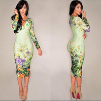 Casual Dresses Vintage Dresses Crew Neck New 2014 women summer Celebrity Floral Print Bodycon Dress Ladies sexy plus size party dresses bandage long sleeve pencil dress