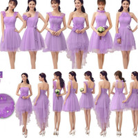 Cheap 2014 Many Style Lavender Bridesmaid Dresses Ruched Applique A Line Short Maid Of Honor Gown Girl Homecoming Party Formal Dress For Wedding
