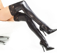 Wholesale Women Sexy Black PVC Leather Stockings With Lace Lady s Sock Clubwear Uniforms Costume DS0039 ONE PAIR