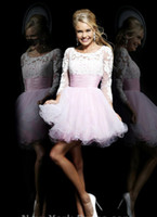 bands mini lights - 2014 Latest Organza Homecoming Dresses Baby Blue Pink Scoop Sheer Neck Illusion Long Sleeve Open Back Band Exquisite Mini Party Gowns