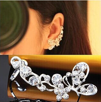 Wholesale New Special Earring For Women Butterfly Flash Drilling Padded U Shaped Ear Deduction Pierced Ears Clip Earrings JE05113