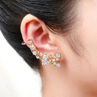 Wholesale 2014 New Fashion butterfly flash drilling padded U shaped ear deduction pierced ears clip earrings E shine Jewelry JE05113