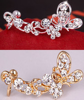 Wholesale 1 X Fashion new hot Retro Crystal Butterfly Flower Ear Cuff Earring Wrap Clip On For Right Ear Earrings for women JE05113
