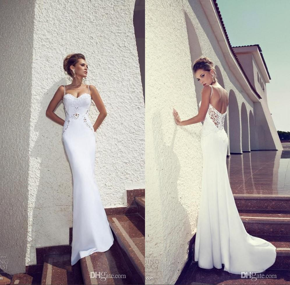 famous designer julie vino summer beach wedding dresses sheath white spaghetti straps white with open back