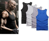 gradient denim shirt - Hot summer KOBE Pro Combat NO sleeve t shirt Thermal tracksuit for men Elastic muscle tights Bodybuilding sportwear Plus size