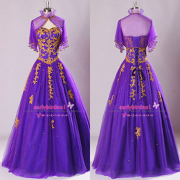 Wholesale 2015 Real Image Quinceanera Dresses Sexy Sweetheart Gold Applique Lace Tulle Purple Dubai Prom Evening Gowns With Sheer Bolero Jacket SU40