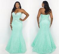 plus size evening dresses - 2016 Fashion Mint Lace Plus Size Mermaid Crystal Prom Evening Dresses New Sweetheart Evening Formal Pageant Dress Gowns Plus size