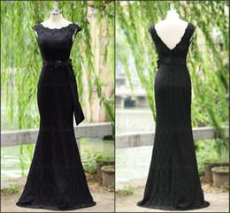 Wholesale Exquisite Lace Evening Gowns Cap Sleeve Scoop Vintage Mermaid Floor Length Bowknots Glamorous Formal Evening Dresses Mother Dress