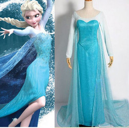 Wholesale Halloween Gorgeous Ladies Frozen Elsa Princess Blue Party Dress Adult Cosplay Costumes