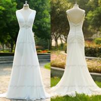 Wholesale 2015 Custom Made sfani Real Image A line Beach Wedding Dresses White Chiffon V neck Vintage Greek Glamorous Bridal Gowns