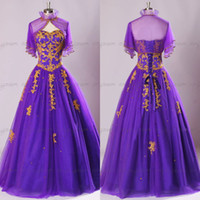 Cheap 2015 sfani Custom Made Real Image Evening Dress,Purple tulle Sweetheart Gold Appliques and Blink beads lace-up Prom Dress with Bolero