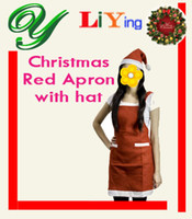 Wholesale Christmas Santa Claus Red Apron with Hats Christmas costume Decorations Holiday Party dressing decorating Costume Kitchen Bib sets