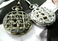 bamboo stationary - 2colors See through Design Bamboo Mechanical Skeleton Pocket Watches Men Women Vine Collection Fashion Dress Pendant Chain Watch Gift Fob