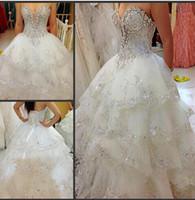 rhinestone applique - Luxury Full Beads Crystal A Line Wedding Dresses Rhinestone Appliques Bridal Gowns Sweetheart Neckline Tiers Beach Wedding Gowns HC