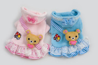 bear thickness - 10pcs Factory Sale Cartoon Bear Pet Dog thickness coat warm jacket hoody Outerwears clothes New year clothes LPC902