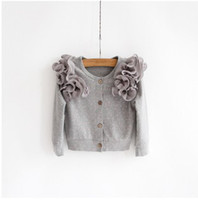 neck cotton collar - Cotton Autumn Polka Dot Girls Fashion Children Cardigans New Arrival Round Neck Lace Flowers Collar Kid Princess Cardigans