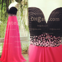 black and pink prom dress - Fabulous ssj Real image Black and Hot Pink Prom Dress Sweetheart Backless with Ruched Bodice and Beaded Sash Evening Dresses Dhyz