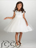 amazing wedding flowers - 2014 Latest Tulle Flower Girls Dresses White Jewel Sleeveless Knee Length Bow Band Amazing Pageant Gowns Custom Made