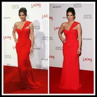 Cheap 2014 Kim Kardashian Red Long Prom Dresses One Shoulder Sweetheart Chiffon Ruffles Mermaid Floor Length Evening Dress Formal Party Gowns