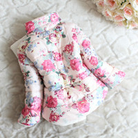 baby padded jacket - girls winter cotton padded clothes Children Clothing kids flower outwear Girls popular thicken coat baby girl s jacket
