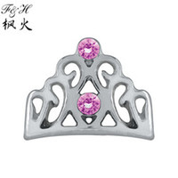 Charms floating charms Other Beauty Pink Crystal Crown Floating Charms For Memory Glass Lockets wholesale Cheap Charms
