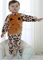 Cheap 2014 Autumn children's clothing new style flannel leopard boys sets long sleeve tops + pants 2pcs children suit baby kids outfits SM556