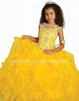 Cheap Little Girl's Pageant Dresses Ball Gown Cutout Crew Neckline Beaded Appliques Bodice Ruffled Organza Skirt Long Formal Dresses for Girls