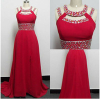 Actual Images 2015 Best Selling Red Summer Prom Dresses Crew...