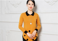 Wholesale Winter Women Knitted Sweater Pullover Blouse Autumn Dress Fall Contrast Color Mink Cashmere Long sleeve